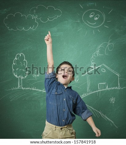 Concept of green idea with kid at school - stock photo