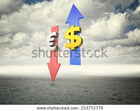 concept of growin dollar 3d image - stock photo