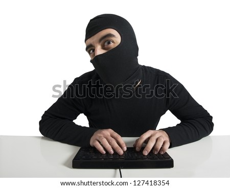Concept of hacker with computer - stock photo