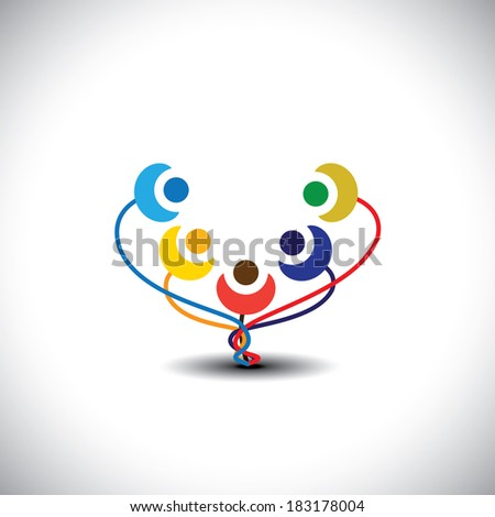concept of happy family tree with members as flowers - graphic. This illustration also represents students of school, happy children, playful kids, people having fun, cheerful community  - stock photo