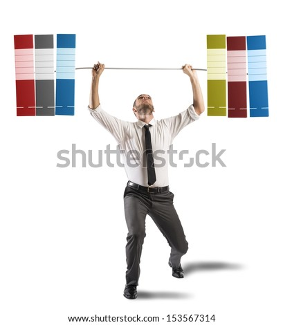 Concept of hard career of a businessman - stock photo