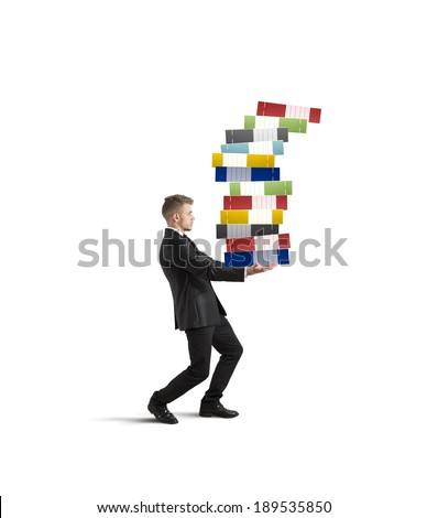 Concept of hard career with workload businessman - stock photo