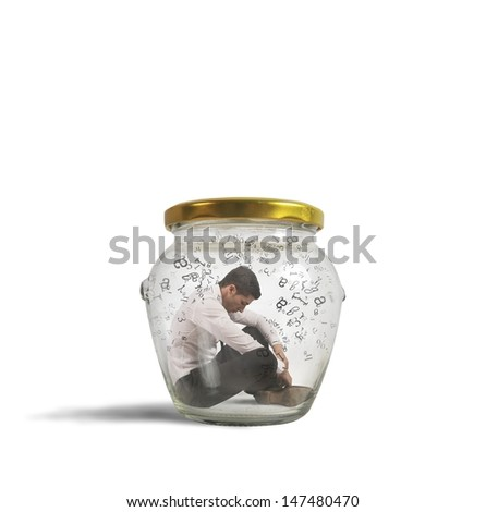Concept of hermetic businessman closed in a jar - stock photo