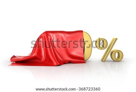 Concept of hide percent. Gold percents hide under the cloak. Surprise sale. - stock photo