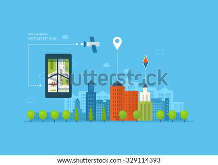 Concept of  holding smart-phone with mobile navigation. Flat design modern illustration icons set of urban landscape and city life. Building icon.
