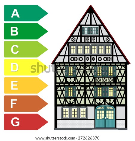 Concept of Home Energy Audit. Energy assessments and energy rating particularly for historic buildings  - stock photo