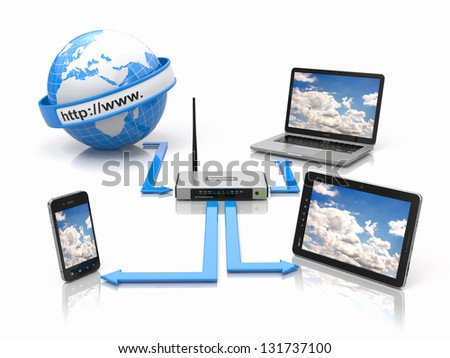 Concept of home network. Sync devices. 3d - stock photo