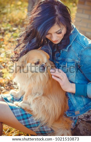 Concept of human and animal relationship, dog are best friend ever. Woman love a dog