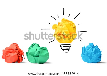 Concept of idea and innovation with paper ball - stock photo