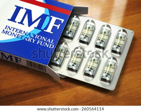 Concept of IMF tranches. Pack of dollars as pills in blister pack. 3d - stock photo