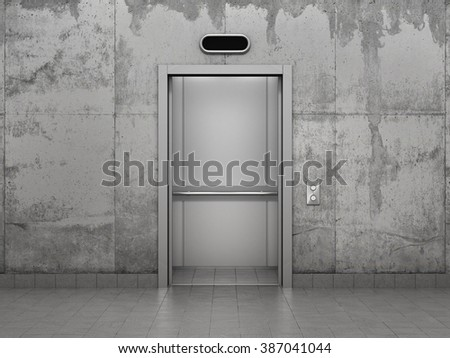 Concept of improving career. Elevator with opened doors in concrete wall.