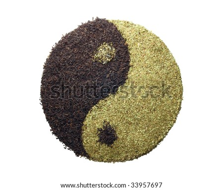 """concept of """"in"""" and """"yan"""" with green and black tea - stock photo"""