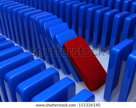 Concept of instability. The concept of instability expressed through a principle of dominoes, falling of one of dominoes leads to falling of the others in this series. - stock photo