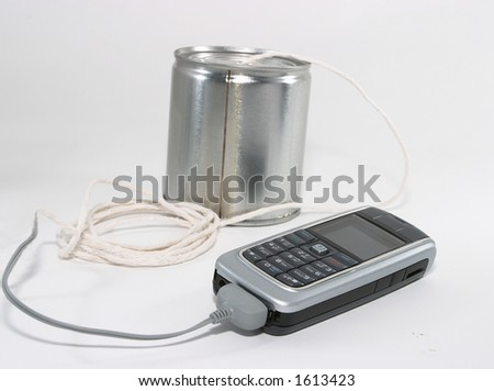 Concept of integrating old technology to new. Integration of old technology to talk to new technology equipment - stock photo