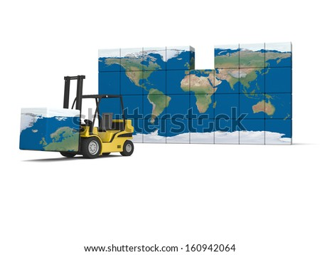 Concept of International logistics, modern yellow forklift carrying piece of global map, isolated on white background. Elements of this image furnished by NASA. - stock photo