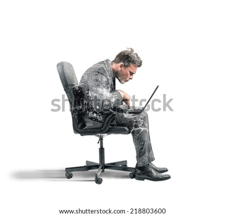 Concept of internet addiction with frozen businessman - stock photo