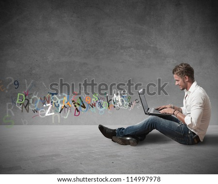 Concept of internet chat and communication - stock photo