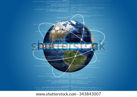 Concept of internet connects information from all over the world. With address bar on top of the picture.