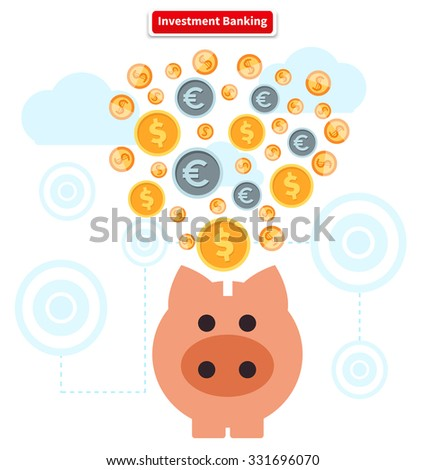 Concept of investment banking. Collect of finance. Money finance, bank and growth earnings, piggy and cash coin, financial profit, wealth and dollar, income and fund illustration. Raster version - stock photo