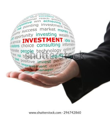 Concept of investment in business. Words on the transparent ball in the hand - stock photo