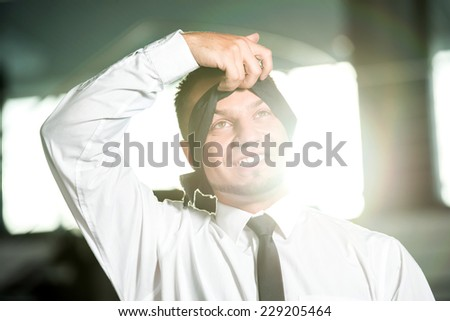 Concept of job search.  Man blindfolded, removes bandage. - stock photo