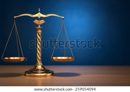 Concept of justice. Law scales on blue background. 3d - stock photo