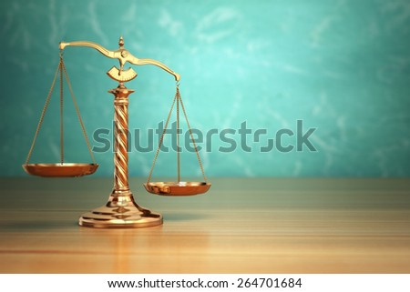 Concept of justice. Law scales on green background. 3d - stock photo