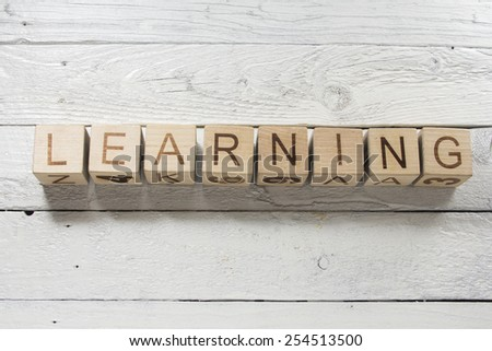 concept of learning word on wooden cubes - stock photo