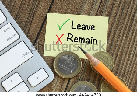 concept of leave versus remain  - stock photo