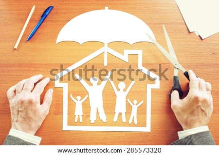 Concept of life and property insurance. Abstract conceptual image - stock photo