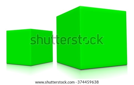 Concept of light green boxes isolated on a white background.