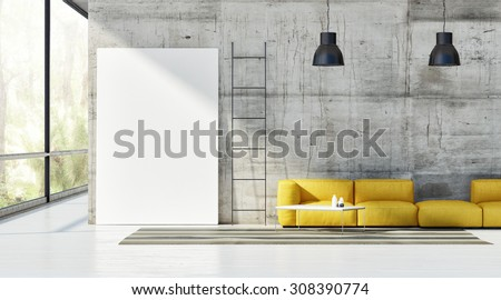 Concept of loft, mock up poster on concrete wall, 3d render  - stock photo