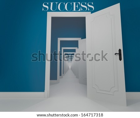 Concept of long way of the success