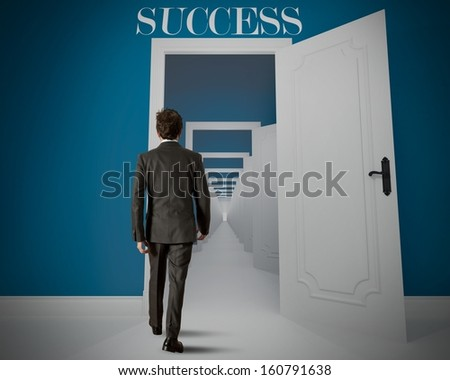 Concept of long way to the success - stock photo