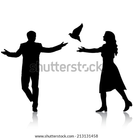 Concept of love or peace. Silhouettes girl and guy released doves into the sky.  illustration.