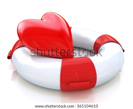 Concept of love relationships: heart and life buoy on white background in the design of the information associated with love - stock photo