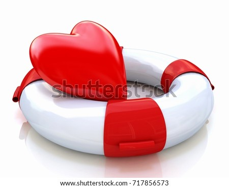Concept of love relationships: heart and life buoy on white background in the design of the information associated with love. 3d illustration