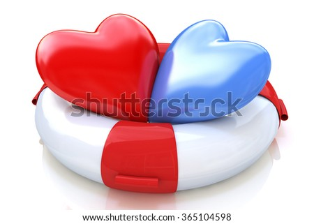 Concept of love relationships: two hearts and life buoy on white background in the design of the information associated with love - stock photo