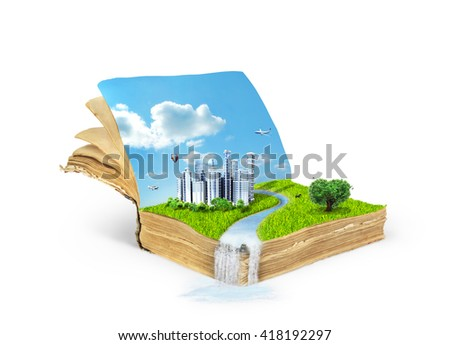 Concept of magic book covered with grass with tree in the form of heart and eco city isolated on white background.Reading concept. Concept of the acquisition of knowledge.