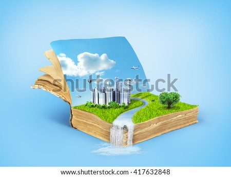 Concept of magic book covered with grass with tree in the form of heart and eco city.Reading concept. Concept of the acquisition of knowledge.