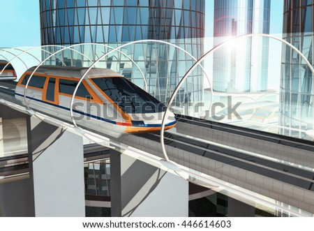 Concept of magnetic levitation train moving on the sky way across the city. Modern  transport. 3d rendering illustration.