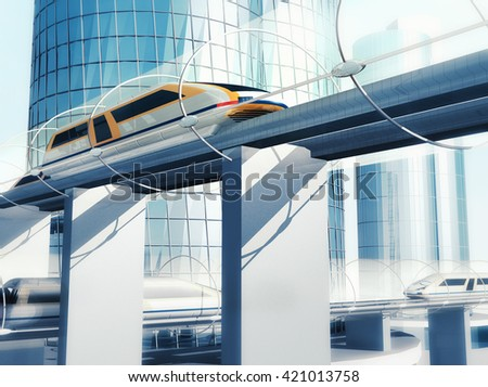 Concept of magnetic levitation train moving on the sky way in vacuum tunnel across the city. Modern city transport. 3d rendering illustration. - stock photo