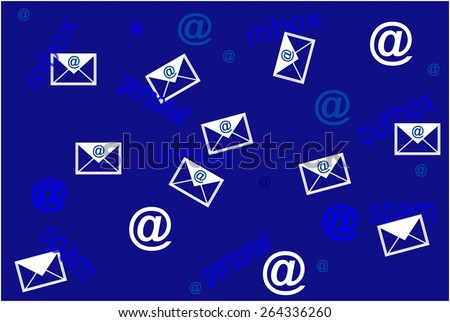 Concept of mailing list with envelope on blue background - stock photo