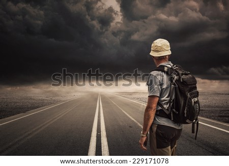 Concept of Man follows the right way - stock photo