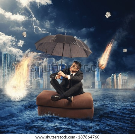 Concept of market collapse with  falling meteorites - stock photo