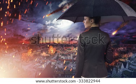 Concept of market or ecology disaster with falling meteorites - stock photo