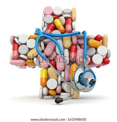 Concept of medicine. Cross from drugs and stethoscope. 3d - stock photo