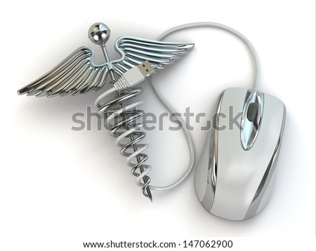 Concept of medicine online. Caduceus sign and mouse. 3d - stock photo