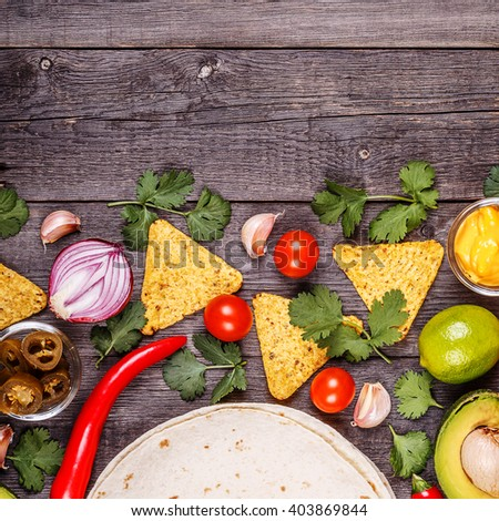 Concept of Mexican food, copy space, top view. - stock photo