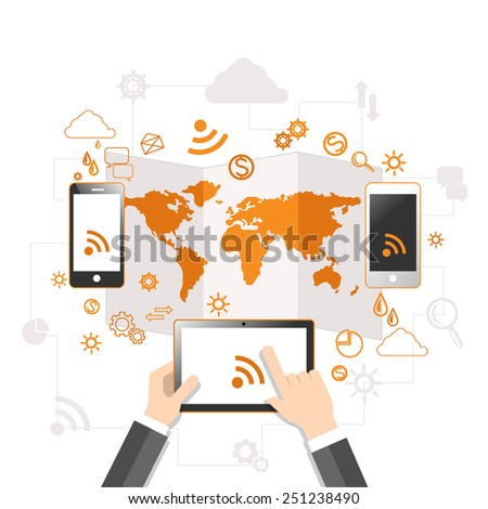 Concept of mobile communication and cloud storage with user hands touching screen of digital tablet with rss connecting with two smartphones. Raster version - stock photo